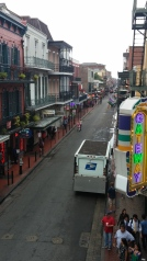 The view of Bourbon Street from the hotel balcony